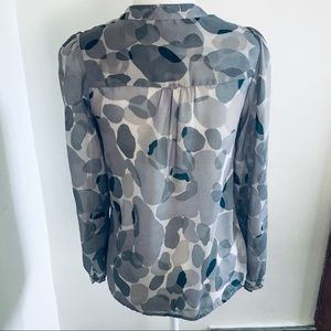 LOFT Tops - Loft XSP Stone Gray Quarter Length Sleeves Blouse